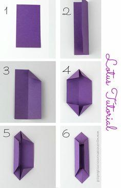 tutorial-lotus-origami-2 Lotus Origami, Paper Origami Flowers, Paper Flowers Craft, Paper Crafts Origami, Origami Tutorial, Origami Easy, Flower Crafts, Diy Paper Bag, Cool Paper Crafts