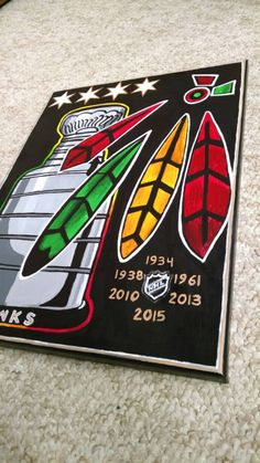 Chicago Blackhawks 12x16  Painted Canvas