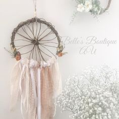Boho dream catcher, bohemian wall hanging, woodland nursery decor, vintage dreamcatcher, rustic home decor, wooden willow dream catcher A dream catcher with a difference... Whether you wish to use your dream catcher for traditional reasons or for decorative purposes, this unique willow dream