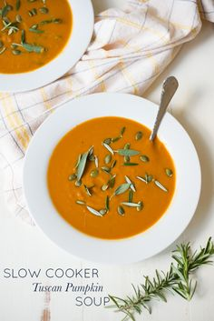 Rich, warming and creamy (without a drop of cream) Slow Cooker Tuscan Pumpkin Soup is an easy slow cooker recipe that's bound to become a weeknight staple.
