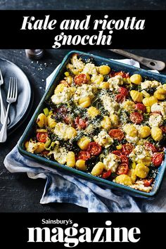 Looking for some midweek meal inspiration? This quick and easy kale and ricotta gnocchi recipe feeds a family of four in just 25 minutes, plus it's vegetarian. Vegetarian Recipes Easy, Healthy Crockpot Recipes, Raw Food Recipes, Veggie Recipes, Healthy Dinner Recipes, Healthy Dinners, Savoury Recipes, Vegetarian Cooking, Veggie Food