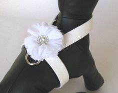 White Dog Wedding Harness - Bling Dog Harness, Tiny Dog Harness, Puppy Harness, Small Dog Harness, Teacup Harness, Dog of Honor