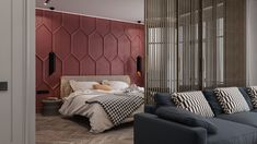 Design Detail – Moldings And Matte Red Paint Were Used To Create A Bold Accent Wall In This Bedroom by OM Architecture Accent Wall, Modern Bedroom, Bedroom Interior, Modern Interior, Bedroom Design, Modern Apartment, Interior, Trending Decor, Home Decor