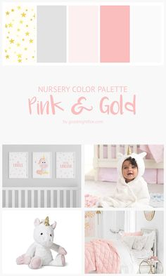 Pink & Gold Nursery Color Palette | Design the perfect unicorn nursery for your baby girl with this adorable palette of pinks, greys, and gold. #nurserydecor #babygirl #nursery #nurseryideas #colorpalette