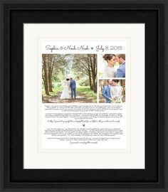Wedding art with three wedding photos and space for two sets of vows.  Personalized with your choice of colors and frame styles.