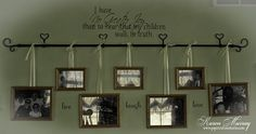 I like this alternative to just hanging pics on the wall...very pretty! btgill