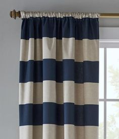 Our Newbury Stripe Lined Rod Pocket Curtains in Indigo prove stripes never go out of style. This style, with its large-scale pattern, is especially fresh and lighthearted. Visit us at Prospect + Vine.