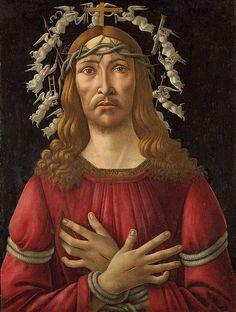 Sandro Botticelli: Christ as the man of sorrows with a halo of angels SANDRO BOTTICELLI, vero nome Alessandro di Mariano di Vanni Filipepi (Firenze, 1º marzo 1445 – Firenze, 17 maggio 1510) #TuscanyAgriturismoGiratola