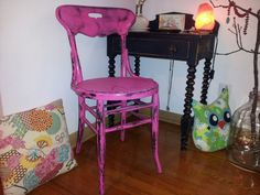 Hand painted Upcycled Unique Bent Wood Desk Chair Round Seat in Vintage Shabby Chic Distressed Cottage Bright Berry Pink Black Green on Etsy, $50.00