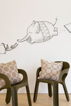 It's a bird! It's a plane! a flying elephant! This Incredible Circus Wall Decal by Blik adds a little touch of whimsy to any room.