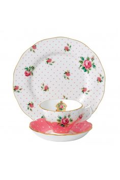 Royal Albert Cheeky Pink Vintage 3-Piece Place Setting.  At Waterford Wedgwood Royal Doulton, Tanger Outlets, San Marcos, TX or call 1-800-203-4540 or 512-396-4025.  We ship.