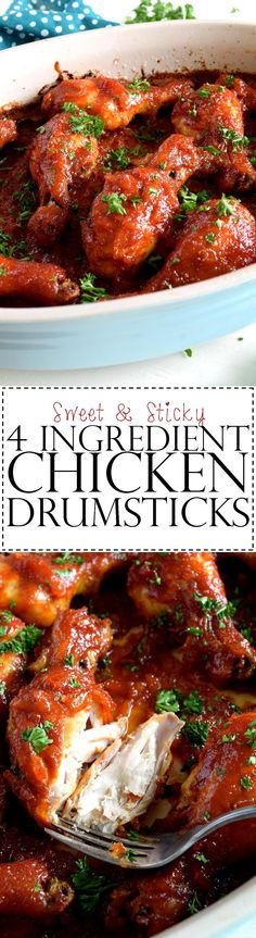 Sweet and Sticky Four Ingredient Chicken Drumsticks - A four ingredient chicken recipe that results in a sweet and sticky main for tonight's dinner.  Easy to prepare, no fuss, and very little clean up.  A perfect set-it-and-bake-it recipe!