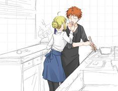 Emiya Shirou x Saber Saber X Shirou, Shirou Emiya, Anime Couples Drawings, Couple Drawings, Manga Anime, Anime Art, Arturia Pendragon, Fate Stay Night Anime, Miyamoto Musashi