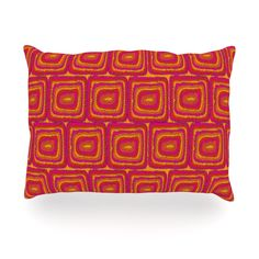 "Nandita Singh ""Bright Squares"" Red Pink Oblong Pillow"