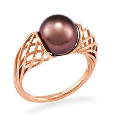 Chocolate Tahitian Pearl Wave Ring in 14K Rose Gold