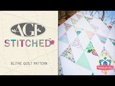 "AGF Stitched Blithe Quilt Pattern: Easy Quilting Tutorial with Kimberly Jolly of Fat Quarter Shop - YouTube:video-9:06 min.... quilt measures  54"" x 72"" lots of tips for hst  Free Fractal pattern download pattern at the Fat Quarter Shop.."