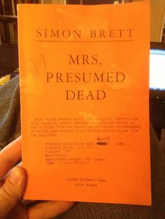 "1st Edition ARC ""Mrs, Presumed Dead"" Simon Brett Mrs Pargeter Uncorrected Proof"