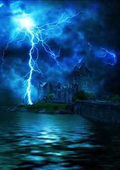 I envision an exciting scene here!  Castle with Lightening by extreme-girl.deviantart.com