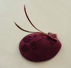 Burgundy Teardrop Cocktail Hat Headdress Accented by mammamiaeme, $75.00