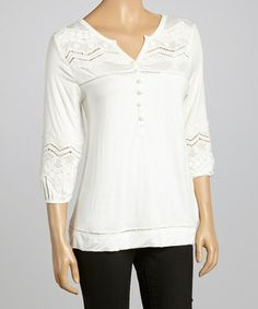 Another great find on #zulily! Ivory Embellished Top by Simply Irresistible #zulilyfinds