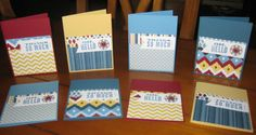 """Oh, Hello card kit. Pre-cut cards, tutorial, and embellishments. Use the """"oh, hello"""" sentiments or use other favorites. Kit is $15 (includes shipping) or $18 if you want them to come premade).  Www.alisonbair.stampinup.net"""