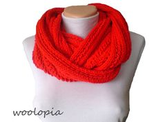 Hey, I found this really awesome Etsy listing at https://www.etsy.com/listing/179753403/red-hand-knitted-infinity-scarf-hat-set