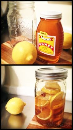 ~ Sore Throat Cocktail ~  1. Cut two clean lemons in half lengthwise, then into slices.   2. Put slices into a very clean and dry large jar.   3. Pour a jar of honey over slices.   4. Place lid on jar and shake to mix contents.   5. Store in refrigerator. Allow mixture to blend for a day before using.  Use: Add a couple large spoonfuls of mixture (and a slice or two of lemon) into a teacup. Pour hot water into cup and stir. Drink while hot.  Optional: Add cinnamon sticks or slices of…