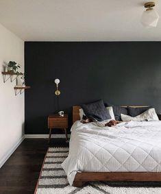 Black walls bedroom - Best mornings via schoolhouseliving Basement Bedrooms, Home Bedroom, Modern Bedroom, Basement Ideas, Black Accent Walls, Black Accents, Accent Wall Bedroom, Wall Colors For Bedroom, Bright Bedroom Ideas