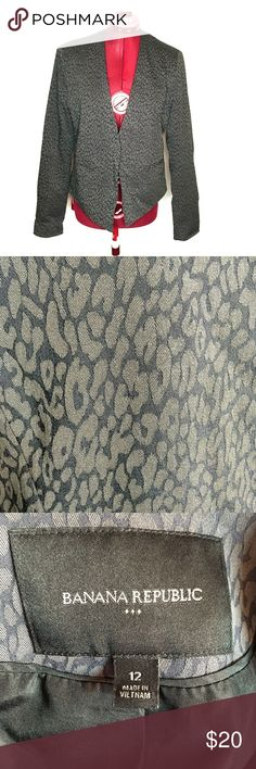 Banana Republic Blazer Animal Print Open Front Banana Republic Women's Blazer Jacket 12 Open Front Crop Back Gray Animal Print Excellent Condition Measured While Laying inches Approx inches Banana Republic Jackets & Coats Blazers Banana Republic Jackets, Banana Republic Women, Blazer Jacket, Blazers, Coats, Animal, Gray, Closet, Things To Sell