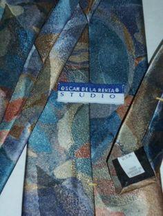 OSCAR DE LA RENTA STUDIO Mens Neck Tie Blues Gold Bronze Silk Blend EUC #OscardelaRenta #Tie