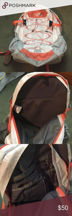 North Face Borealis Backpack white grey and peach colored, laptop backpack, many pockets and places to keep stuff. great for school and travel. not used many times. comfortable straps and back The North Face Bags Backpacks