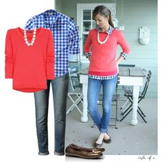 Coral and Blue Gingham Ensemble by styleofe on Polyvore