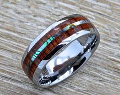 Men's Tungsten Ring with Abalone Inlay, Hawaiian Koa Wood 8mm Comfort Fit Wedding Band