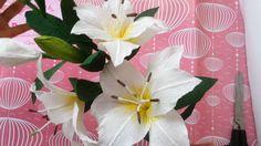 how to make  Lily Paper Flowers Tutorial - Cách làm hoa ly từ giấy nhún ...