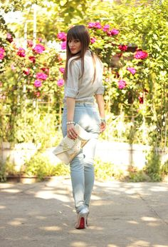 @roressclothes closet ideas #women fashion Jeans Outfit Idea with Silver High Heels