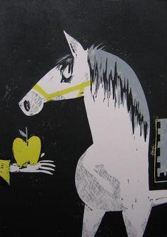 Amanda Kindregan, illustration, design, apple, horse, texture, print, shape, drawing, vintage, colour