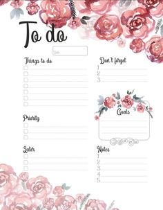 To do list, to do planner, watercolor, roses To Do Lists Printable, Weekly Planner Printable, Free Printable Calendar, Planner Template, Free Printables, Daily Schedule Template, To Do Planner, Daily Planner Pages, Happy Planner