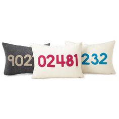 Using felt made from recycled plastic bottles, this plush pillow is stitched with the zip code of your choice.