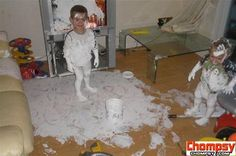 boy makes mess