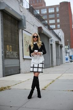 Sheer Collard Shirt with Black Crop Sweater black and white skirt and over the knee boots
