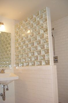 "Decora® Glass Brick - in Running Bond - colors: clear block / white edge-tile / bright white grout - sizes: 4""x8""x4"" & 4""x4""x4"" - by: Pittsburgh Corning - shower half-wall"