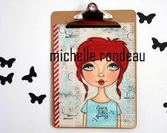 Original Mixed Media Red Hair Girl Painting Art by woodandfabric
