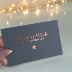 Our new business cards  #business #businesscards #design #rosegold #grey #star #candle #businessdesign #pretty #fairylights #makeawish