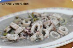 Adobong pusit sa gata (squid adobo in coconut cream)