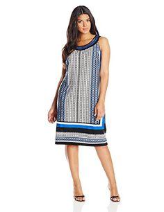 Sandra Darren Women's Plus-Size Border-Print Sleeveless Dress - http://18xl.com/sandra-darren-womens-plus-size-border-print-sleeveless-dress/