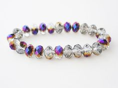 Purple and Gold Crystal Bracelet by minxandmaven