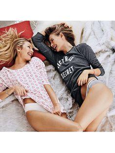 Candice Swanepoel + Behati Prinsloo pose in Victoria's Secret's Christmas 2015 selection