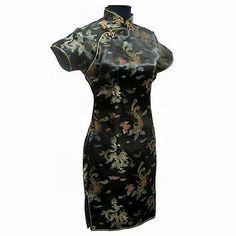 Black Traditional Chinese Classic Dress Mujere Vestido Women's Satin Cheongsam Mini Qipao Size M L XL XXL XXXL 4XL 5XL 6XL J4061