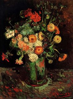 Vincent van Gogh. Vase with Zinnias and Geraniums
