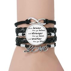 """""""You're braver than you believe and stronger than you seem and smarter than you think."""" Unlike most conventional fragrance brands, KIERIN NYC aims to inspire, not define or confine, you with our always gender-all but never generic fragrances... and this Good Intentions Quote Bracelet. The symbol for """"Infinity"""" and the word """"Love"""" testifies to your awesomeness! Gender: Unisex, Men & WomenPattern Type: LetterColor: Black and WhiteMaterial: Stainless Steel / LeatherClasp Type: Lace-upChain Type: Ro Good Intentions Quotes, Bracelet Quotes, Stronger Than You, Men Quotes, Rope Chain, Bracelets For Men, Fragrances, Brave, Infinity"""